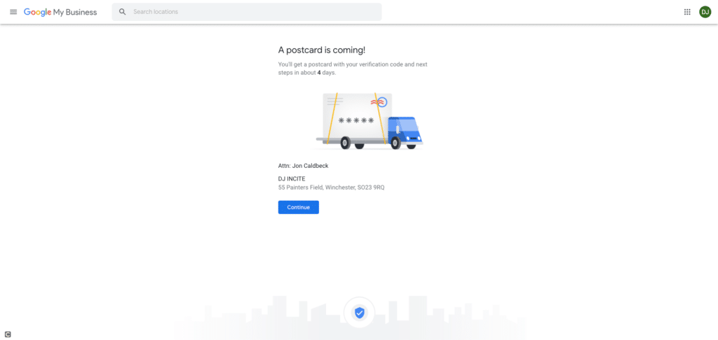 Google My Business Screenshot - A Postcard is coming section...