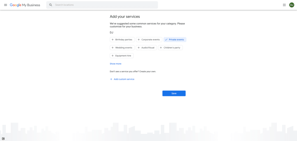 Google My Business Screenshot - Add Your Services Section