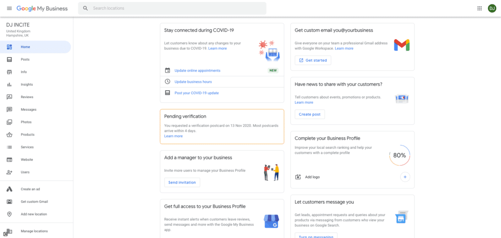 Google My Business Screenshot - Your Google My Business Listing Dashbiard Section