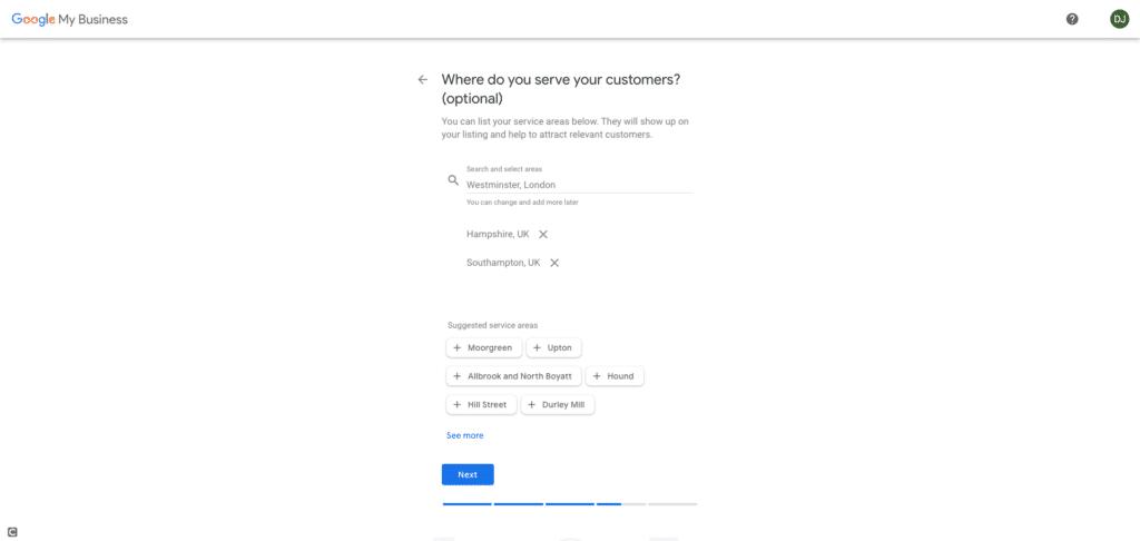 Google My Business Screenshot - Where do you serve your customers?