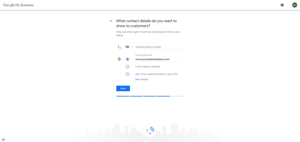 Google My Business Screenshot - What contact details do you want to show to customers?