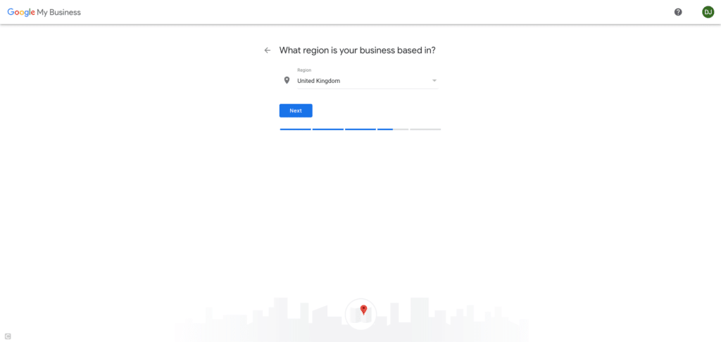 Google My Business Screenshot - What region is your business based in?